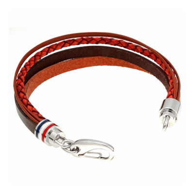 Mens Brown Leather with Stainless Steel Bracelet