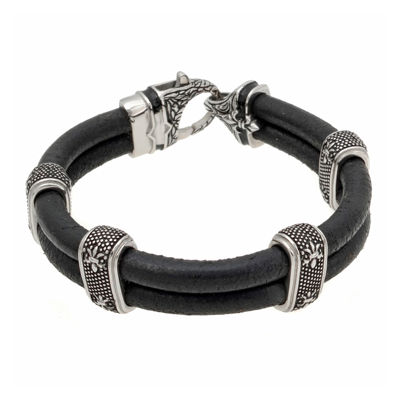 Mens Black Leather and Black IP Stainless Steel Bracelet