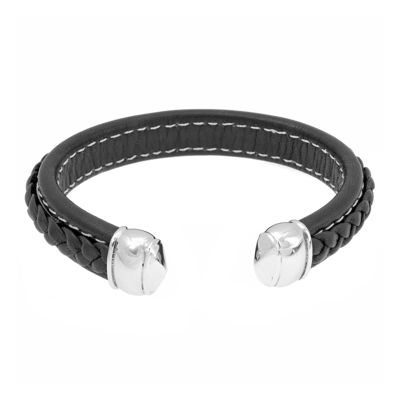 Mens Black Braided Leather Cuff Bracelet