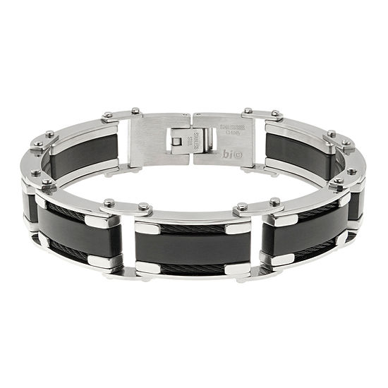 Mens Two Tone Stainless Steel Chain Bracelet