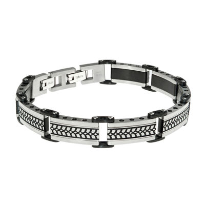 Mens Black IP Stainless Steel Chain Bracelet with Lock Extender