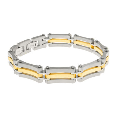 Mens Stainless Steel Bracelet and Gold lP Bracelet with Lock Extender