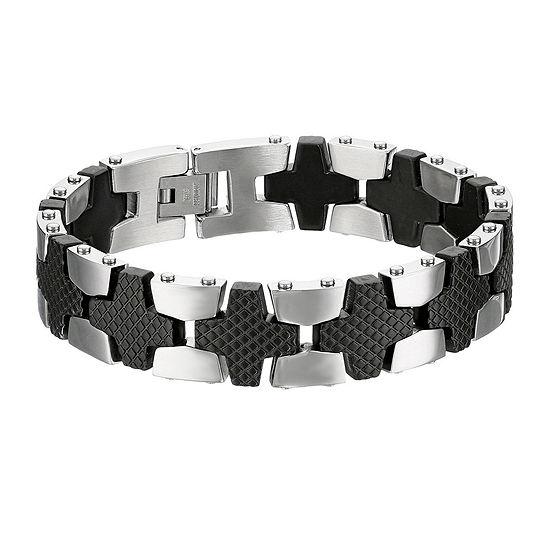 Mens Two Tone Stainless Steel Chain Link Bracelet