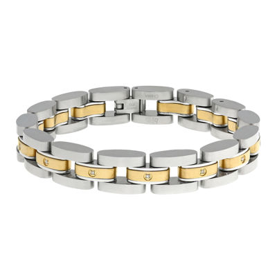 Mens 1/10 CT. T.W. Diamond Two-Tone Stainless Steel Link Bracelet