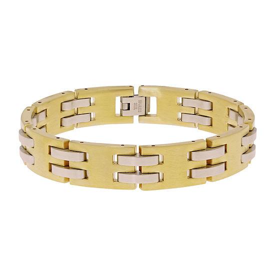 Mens Gold IP Stainless Steel Chain Bracelet