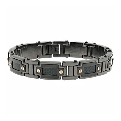 Mens Black IP Stainless Steel and Carbon Fiber Link Bracelet