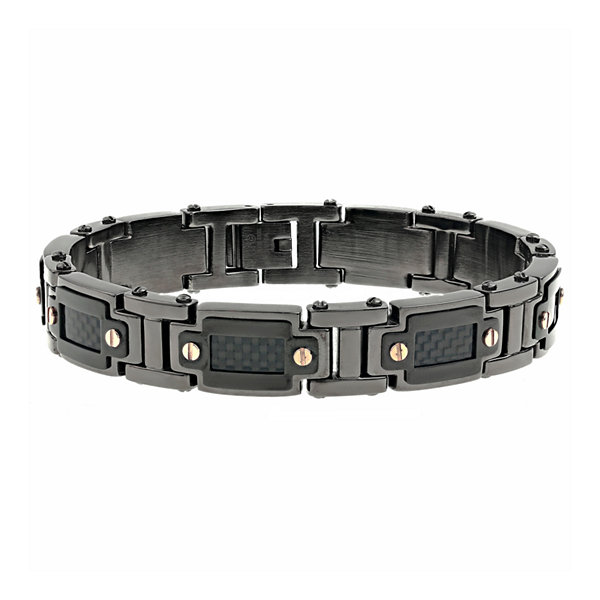 Fine Jewelry Mens Black IP Stainless Steel and Carbon Fiber Chain Bracelet l3ci2Zi