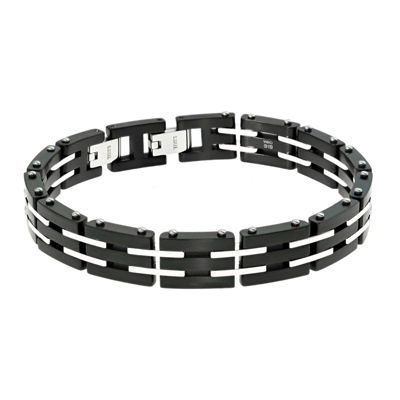 Fine Jewelry Mens Black IP Stainless Steel Chain Bracelet with Lock Extender 8o6Zf