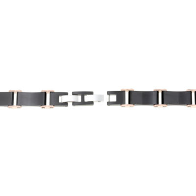 Mens Black IP Plated Stainless Steel Bracelet with Rose IP Accents and Lock Extender
