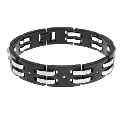 Mens Cubic Zirconia Black Stainless Steel Chain Bracelet