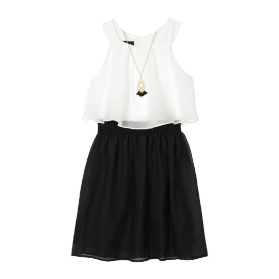 by&by Girl Chiffon Popover Dress with Necklace - Girls Plus