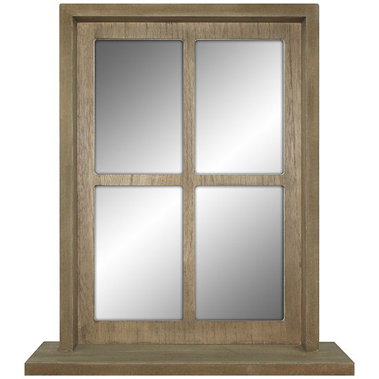 Natural Distressed Tall Mirror With Shelf
