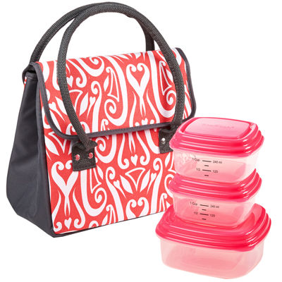 Fit & Fresh® Madrid Lunch Box Kit - Coral Heart Medallion