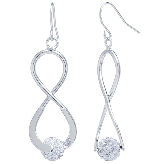 Sparkle Allure Clear Silver Over Brass Crystal Drop Earrings