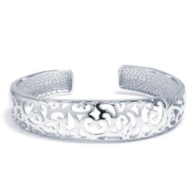 Sparkle Allure Womens Silver Tone Floral Vine Cuff Bracelet