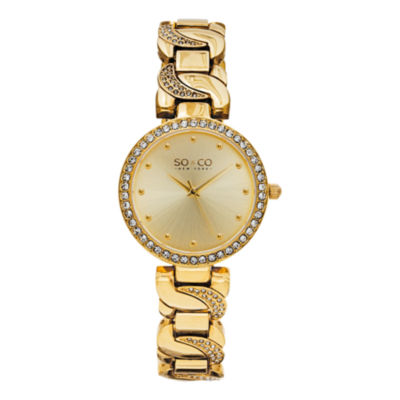 So & Co Womens Gold Tone Stainless Steel Bracelet Watch-Jp15582