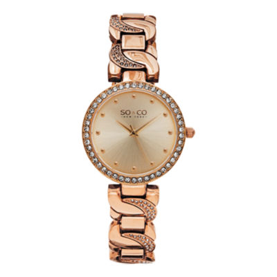 So & Co Womens Rose Gold Tone Bracelet Watch-Jp15583