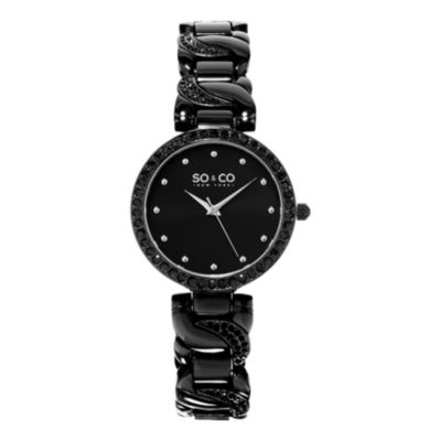 So & Co Womens Black Stainless Steel Bracelet Watch-Jp15584