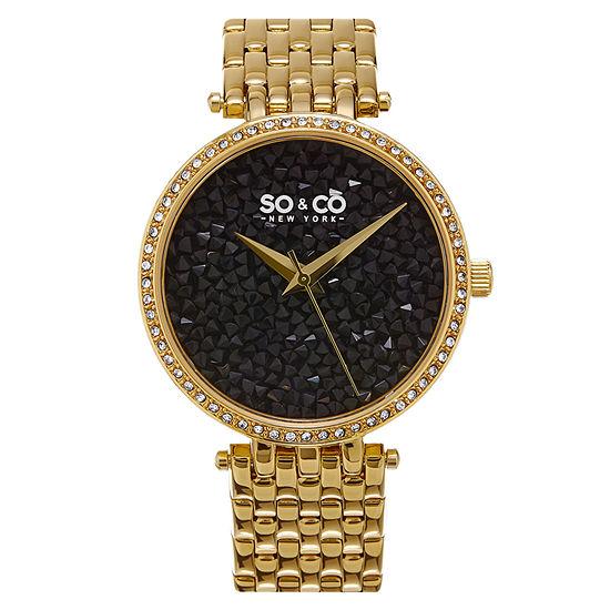 So & Co Womens Gold Tone Stainless Steel Bracelet Watch-Jp15863