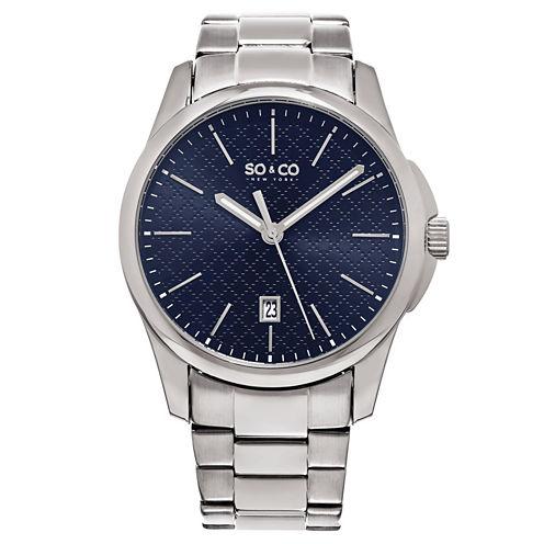 So & Co Mens Silver Tone Bracelet Watch-Jp15884