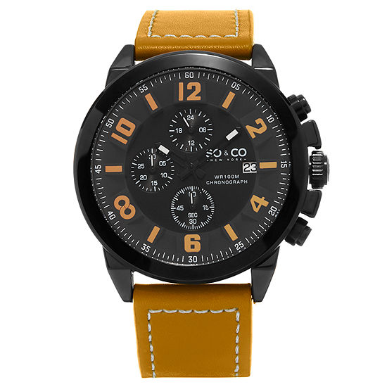 So & Co Mens Multi-Function Brown Leather Strap Watch-Jp15942