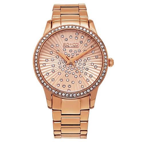 So & Co Womens Rose Goldtone Bracelet Watch-Jp16023