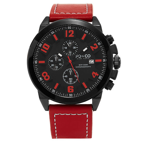 So & Co Mens Multi-Function Red Leather Strap Watch-Jp15944