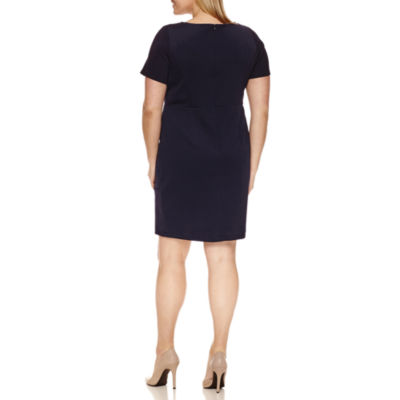 Alyx Short Sleeve Grommet Textured Sheath Dress-Plus
