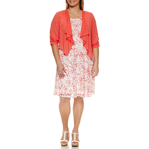 Perceptions 3/4 Sleeve Lace Jacket Dress-Plus