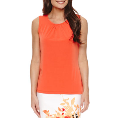 Chelsea Rose Sleeveless Round Neck Jersey Blouse