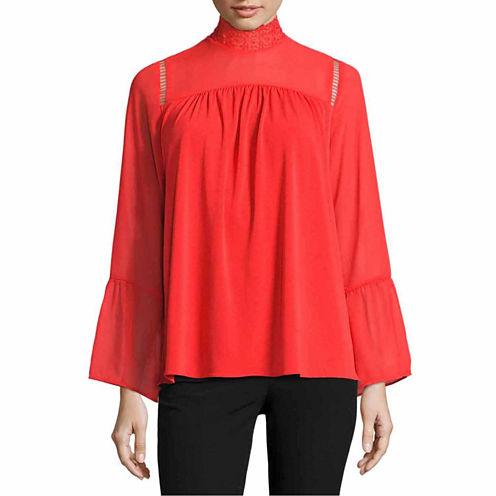 Worthington Long Sleeve Mock Neck T-Shirt-Womens Talls