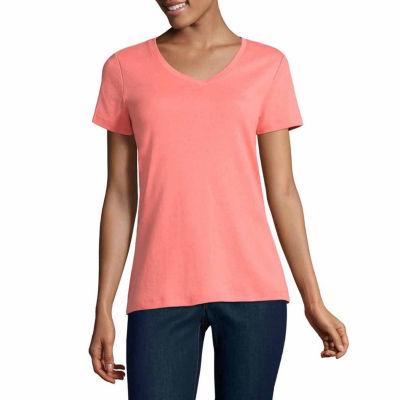 St. John's Bay Short Sleeve V Neck T-Shirt - Tall