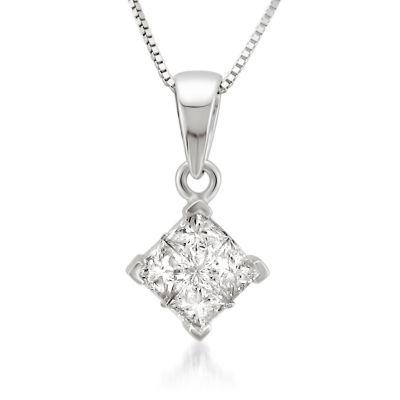 Womens 1/2 CT. T.W. White Diamond 14K Pendant Necklace