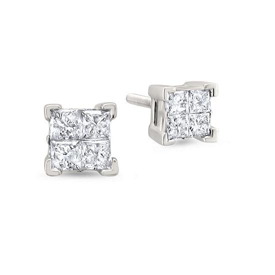1 CT. T.W. Genuine White Diamond 14K Gold 5.4mm Stud Earrings