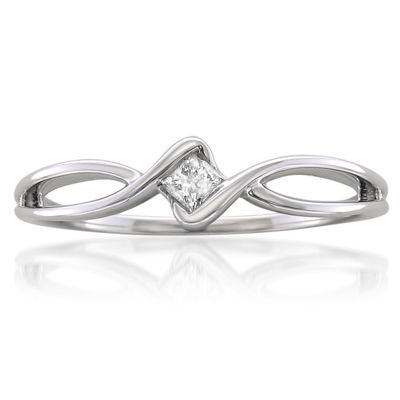 Promise My Love Womens 1/10 CT. T.W. White Diamond 10K Gold Promise Ring