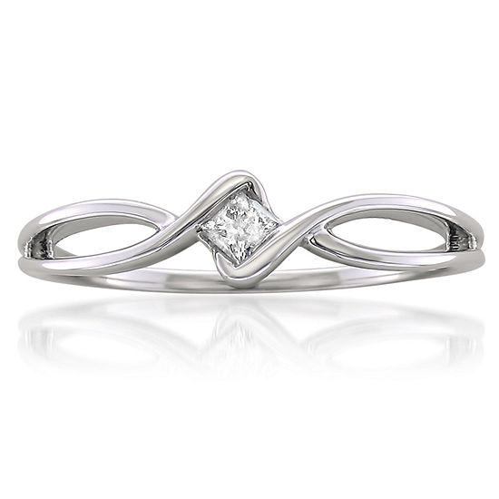 Promise My Love Womens 1/10 CT. T.W. Genuine White Diamond 10K Gold Promise Ring