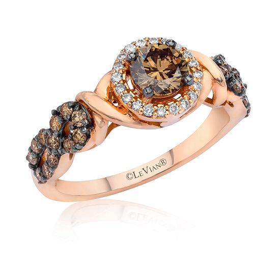 LIMITED QUANTITIES Le Vian Grand Sample Sale™ Vanilla Diamonds® & Chocolate Diamonds® Ring set in 14K Strawberry Gold®