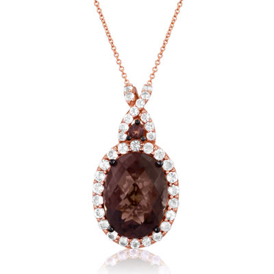 LIMITED QUANTITIES Grand Sample Sale™ by Le Vian®  Genuine Chocolate Quartz® and Vanilla Topaz™ 14K Strawberry Gold Pendant Necklace