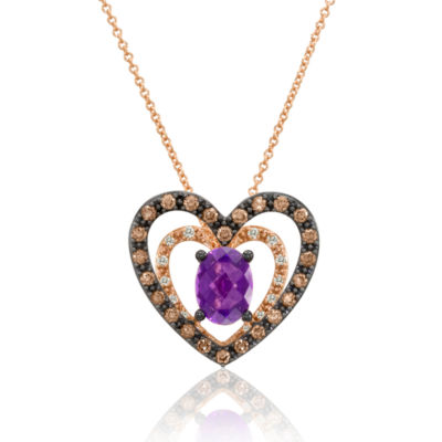 LIMITED QUANTITIES Grand Sample Sale™ by Le Vian® Grape Amethyst™ and 1/2 CT. T.W. Vanilla Diamonds® & Chocolate Diamonds® 14K Strawberry Gold® Le Vian Chocolatier® Pendant Necklace