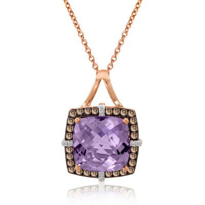 LIMITED QUANTITIES Grand Sample Sale™ by Le Vian® Grape Amethyst™ and 1/4 CT. T.W. Chocolate Diamonds® & Vanilla Diamonds® 14K Strawberry Gold® Le Vian Chocolatier® Pendant Necklace