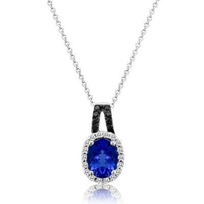 Grand Sample Sale™ by Le Vian® Blueberry Tanzanite® & 1/6 CT. T.W. Vanilla Diamonds® and Chocolate Diamonds® 14k Vanilla Gold® Pendant Necklace