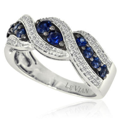 LIMITED QUANTITIES Grand Sample Sale™ by Le Vian® Blueberry Sapphires & 1/5 CT. T.W. Vanilla Diamonds® 14K Vanilla Gold® Weave Band