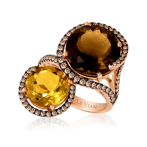 LIMITED QUANTITIES Grand Sample Sale™ by Le Vian® Chocolate Quartz®, Cinnamon Citrine® & 5/8 CT. T.W. Chocolate Diamonds® 14K Strawberry Gold® Ring