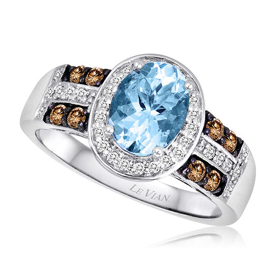 LIMITED QUANTITIES Le Vian Grand Sample Sale™ Ring featuring Sea Blue Aquamarine®, Chocolate Diamonds®, Vanilla Diamonds® set in 14K Vanilla Gold®