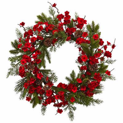 """24"""" Plum Blossom Pine Wreath"""