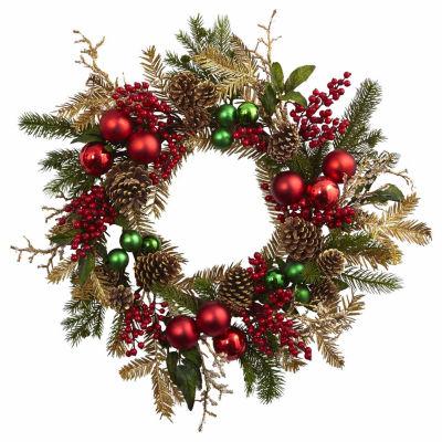 """24"""" Ornanment Pine Cone Wreath"""