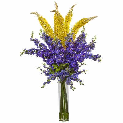 Delphinium & Foxtail Silk Floral Arrangement