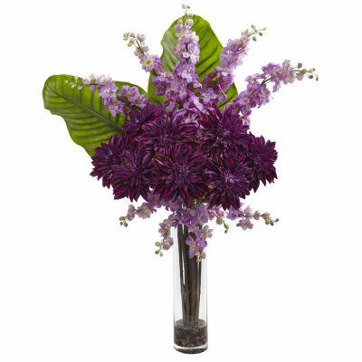 Dahlia; Delphinium; & Travelers Palm Silk Floral Arrangement