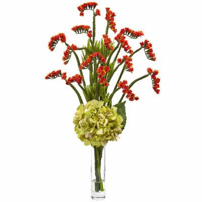 Hydrangea And Statice Bud Silk Floral Arrangement