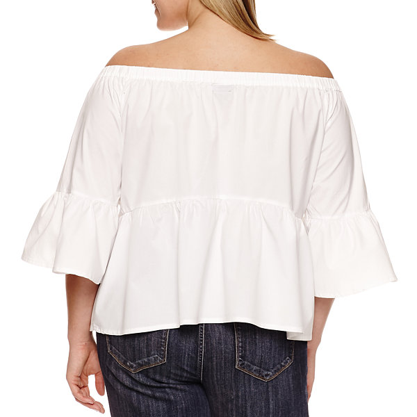 a.n.a 3/4 Sleeve Woven Embroidered Blouse-Plus